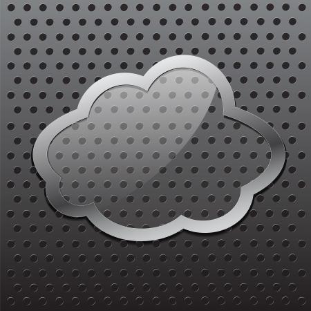 Glass cloud frame with metal stroke Illustration