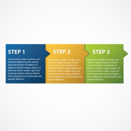 One two three -  progress steps for tutorial Illustration