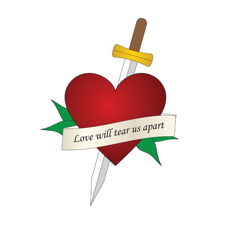 sword and heart: sword heart tattoo Illustration