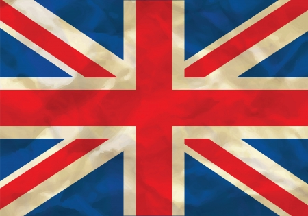 Crumpled flag of UK, Great Britain Illustration