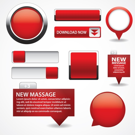 push button: Blank red web buttons for website or app