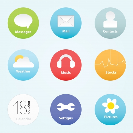 popular colors icon with basic signs Illustration