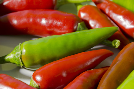 red peppers: green and red peppers
