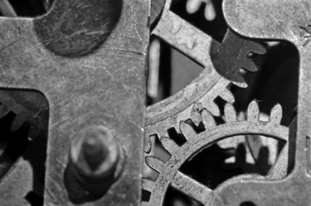 sprockets: Gears hour black and white