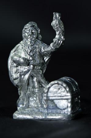 tin: figure figurine owl tin Stock Photo