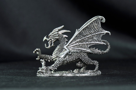 dragon side view pewter figurine