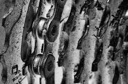 dientes sucios: Pi��n trasero en una bicicleta Foto de archivo