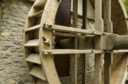water wheel: mill water wheel wood