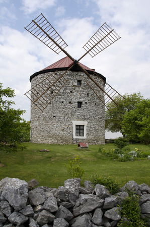 without window: stone Dutch-type windmill Stock Photo