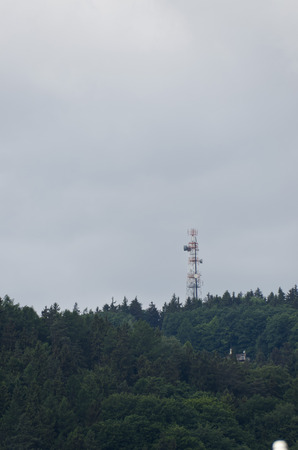 transmitter: transmitter in the woods Stock Photo