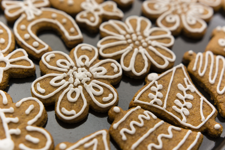 caked: decorated gingerbread on baking sheet