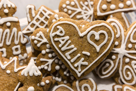 gingerbread heart: Gingerbread heart with the inscription Paul Stock Photo