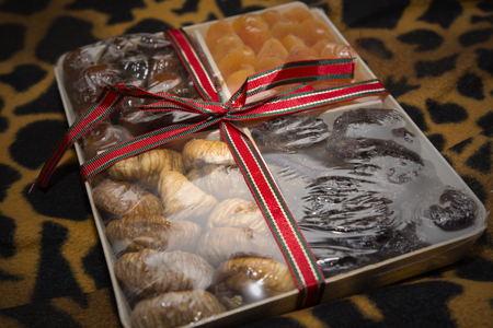 prunes: dried figs, prunes, apricots and dates in gift box