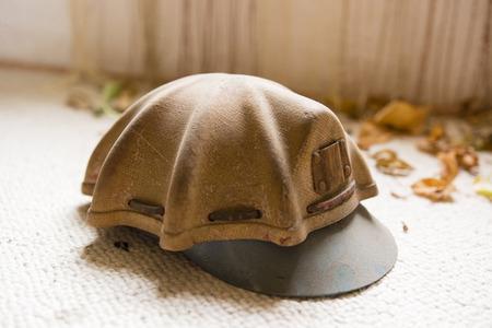 shaft: old mine shaft helmet Stock Photo