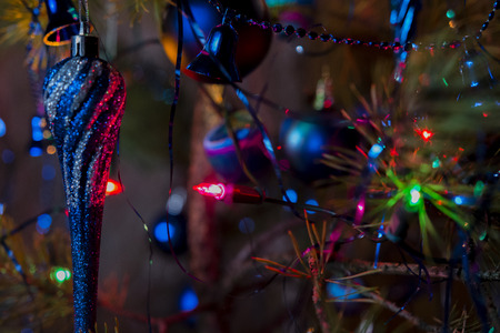 gentleness: Blue Christmas decorations with lights Stock Photo