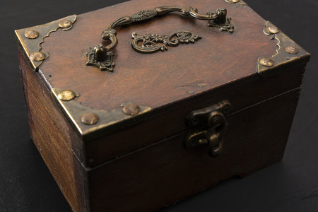 ironwork: Wooden chests decorated with wrought iron and lock