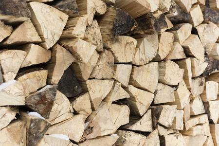 compared: Compared pile of wooden logs Stock Photo
