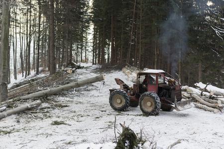 logging: logging using the pulling cars