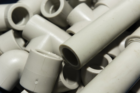 splitter: of plastic pipes and fittings for water installation Stock Photo