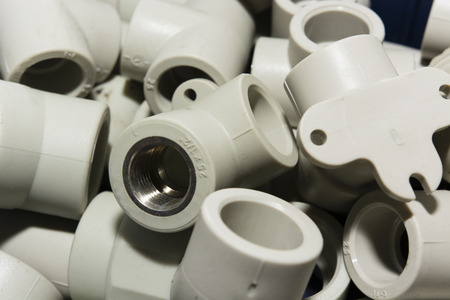 fittings: of plastic pipes and fittings for water installation Stock Photo