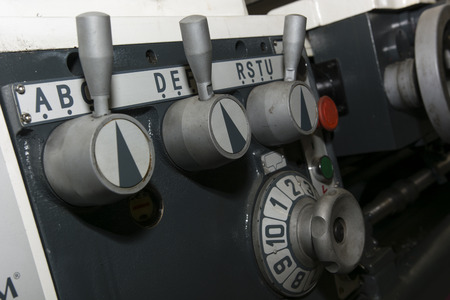 lathe: Controls lathe in detail Stock Photo