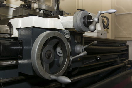 controls: Controls lathe in detail Stock Photo