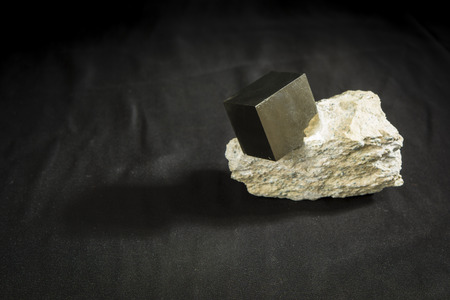 pyrite: cubic crystal pyrite in bedrock Stock Photo