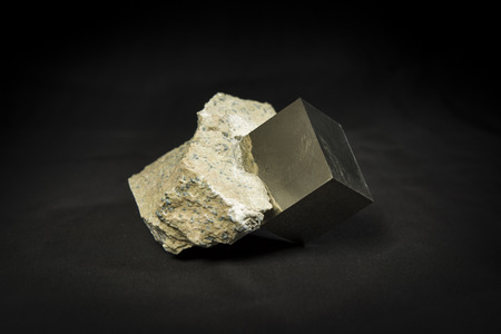 pyrite: crystal cubic pyrite in bedrock Stock Photo
