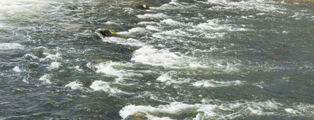 clarification: panorama river with rocks and flowing water
