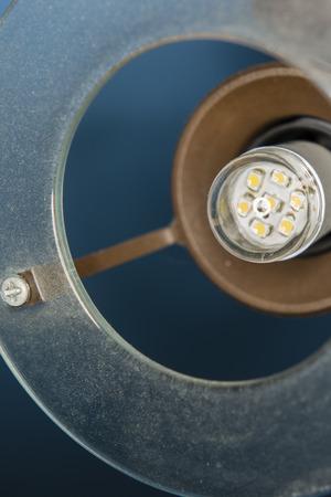 dusty: LED light bulb in the dusty light Stock Photo