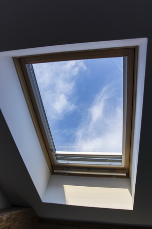 sunroof: hung roof window with a view of the sky from the room