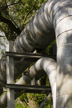 gas distribution: Pipeline in nature with structures Stock Photo