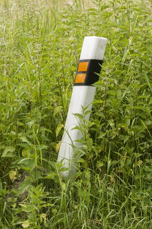 road shoulder: Plastic column Overgrown grass.