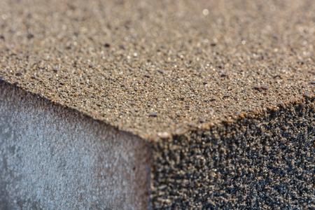 sandpaper: Sponge with sandpaper in detail. Stock Photo