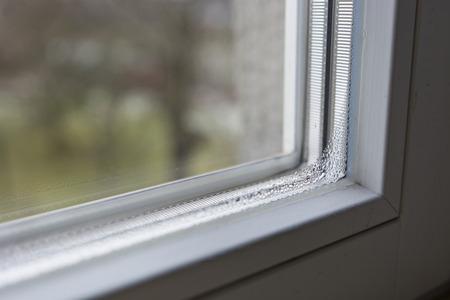 condensation: Condensation on the inside windows. Stock Photo