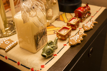 animal figurines: Christmas decoration - fish, candlestick, train. Stock Photo