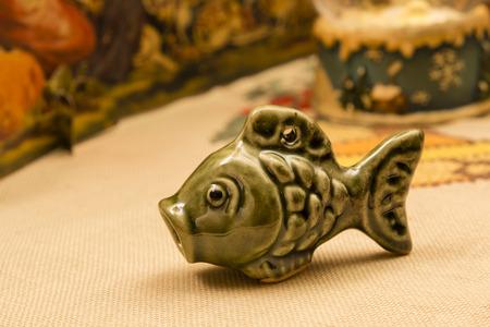 animal figurines: Ceramic fish. Stock Photo