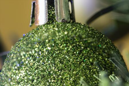 green bulb: Green bulb on the Christmas tree. Stock Photo