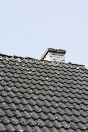 Tiled roof with moss growing and chimney. Zdjęcie Seryjne