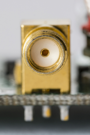 Gold-plated connector screw.