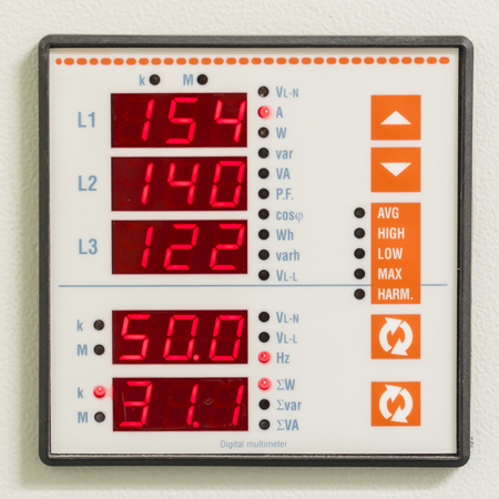 Digital power indicator square for three phases. Imagens