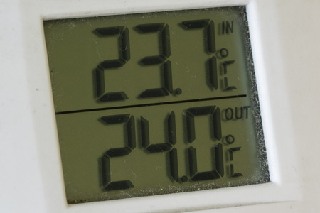 Digital thermometer indicating indoor and outdoor temperature. Imagens - 90034678