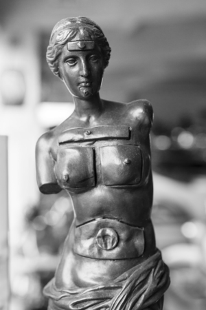 Small metal statue with drawers. Stock Photo
