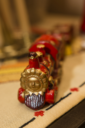Decorative ceramic train. Stock Photo