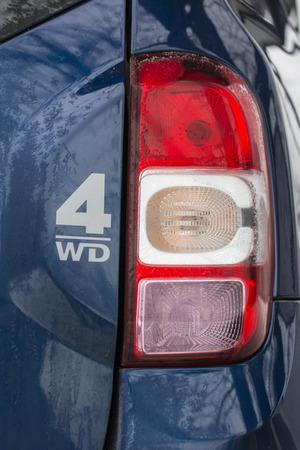 四輪駆動車のリアライト。 写真素材
