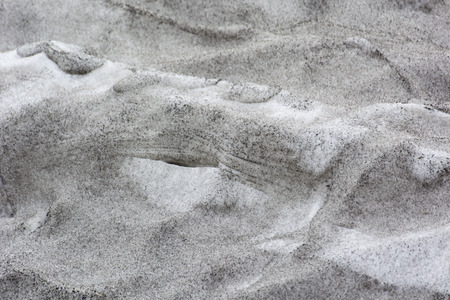 Dirty snow in nature.