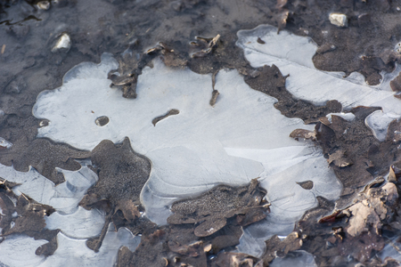 Ice crust on the surface of the pool. Banco de Imagens - 98974816