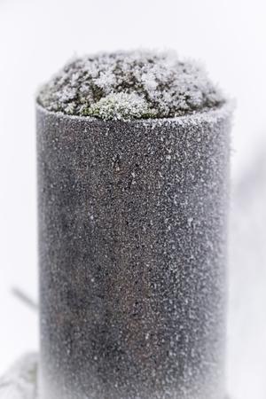 Frost on a metal pole. Banco de Imagens