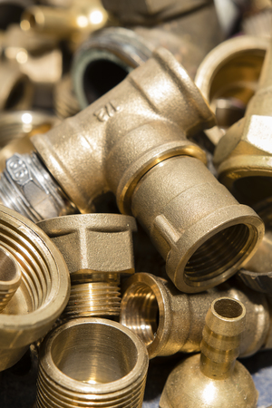 Brass fittings and fittings. Stok Fotoğraf