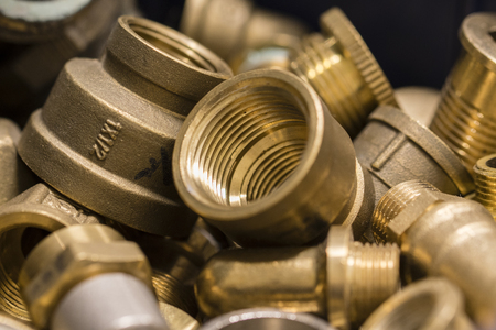 Several types of brass fittings. Stock Photo